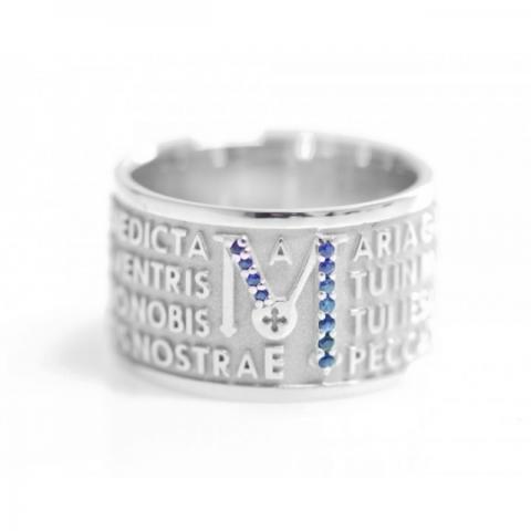 Anello Tuum Animae Mater in Argento 925 Rodiato e Zaffiri blu con Ave Maria in latino