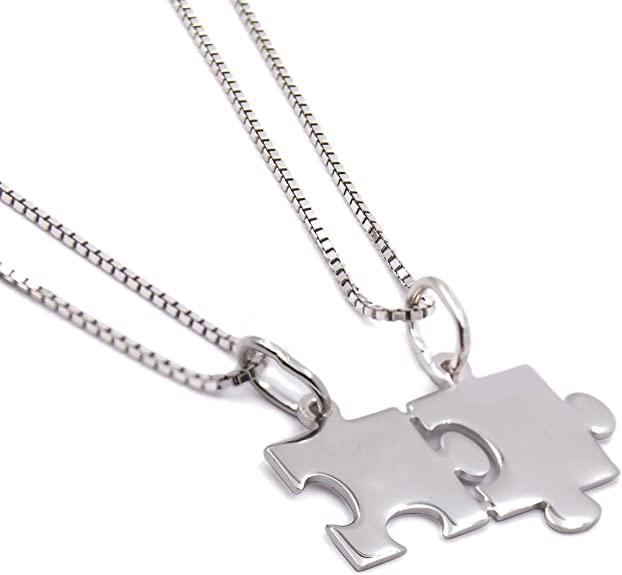 2 Catenine con ciondolo Puzzle spezzato divisibile in argento 925% rodiato e incisione fronte/retro