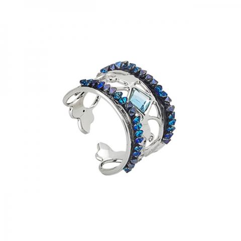 Anello BOCCADAMO Harem a fascia con crystal rock blu montana XAN141