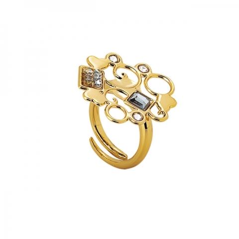 Anello BOCCADAMO Harem dorato con decoro in cristalli Swarovski XAN142D