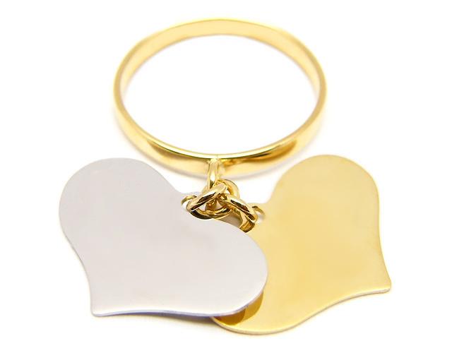 Anello con 2 ciondoli cuore pendenti in oro giallo e bianco 18kt