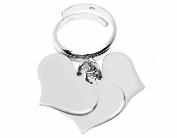 magasin d'usine vente au royaume uni couleur rapide Anello con 3 ciondoli cuore pendente in argento 925 rodiato  personalizzabile con nome o frase