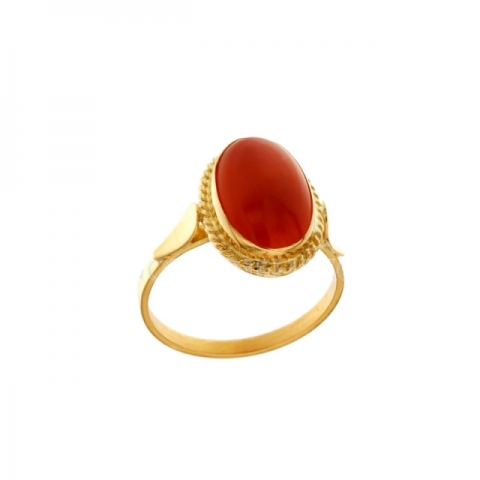 18K Yellow Gold and Red Coral Ring