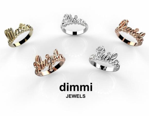 Anello con nome personalizzabile in argento 925% rodiato e Diamante