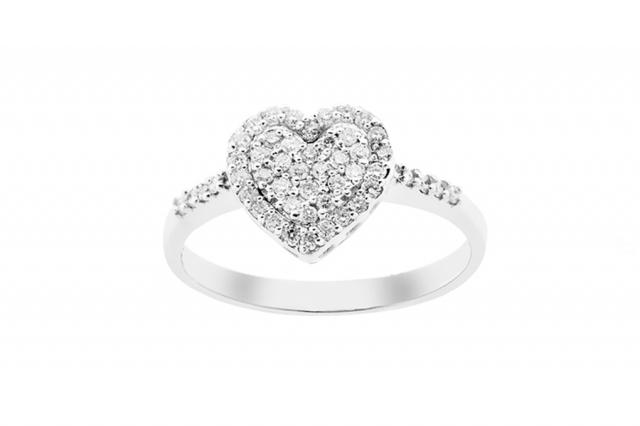 Anello Cuore Grama & Mounier con Diamanti da 0.35ct in oro bianco 18kt GM060