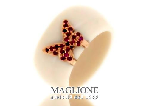 Anello Dalù in ceramica avorio e farfalla in oro 18kt bianco giallo o rosa e rubini