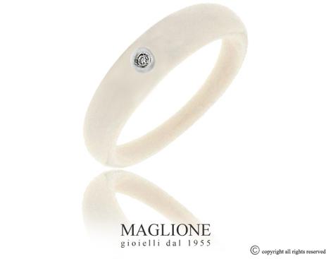 Anello Dalù in ceramica avorio e oro bianco 18kt con diamante naturale