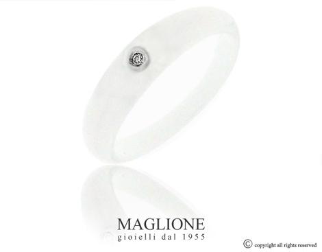 Anello Dalù in ceramica bianca e oro bianco 18kt con diamante naturale
