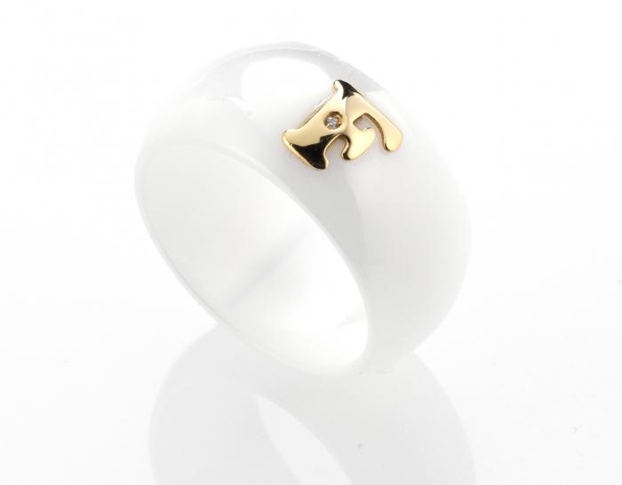 Anello DaLù in ceramica bianca personalizzabile con iniziale del nome in oro 18kt bianco giallo o rosa con diamante