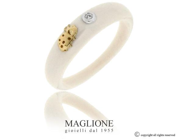 Anello Dalù in ceramica con colore a scelta, coccinella in oro bianco o giallo 18kt e diamante naturale