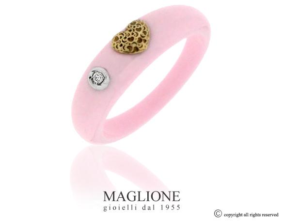 Anello Dalù in ceramica con colore a scelta, cuore in oro bianco o giallo 18kt e diamante naturale