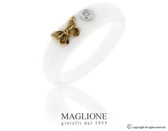 Anello Dalù in ceramica con colore a scelta, farfalla in oro bianco o giallo 18kt e diamante naturale