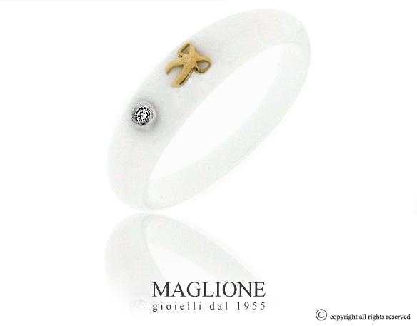 Anello Dalù in ceramica con colore a scelta, fiocco in oro bianco o giallo 18kt e diamante naturale