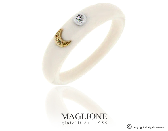 Dalù ring in ceramic and white or yellow gold moon with natural diamond