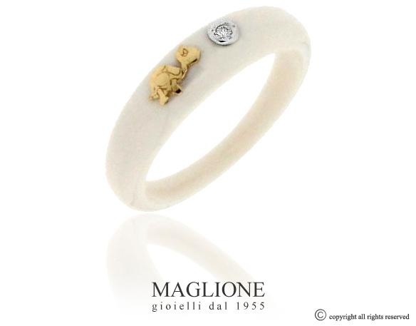 Anello Dalù in ceramica con colore a scelta, tartaruga in oro bianco o giallo 18kt e diamante naturale