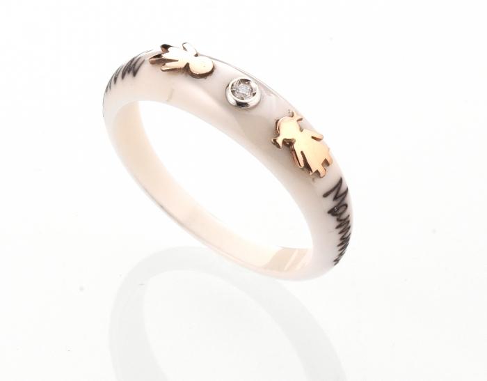 Anello DaLù in ceramica e diamante con bimbo e bimba in oro 18kt personalizzabile con nome