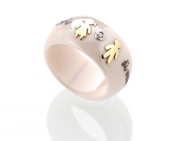 Anello DaLù in ceramica nera o avorio personalizzabile con nomi bimbo e bimba in oro bianco o giallo 18kt e diamante