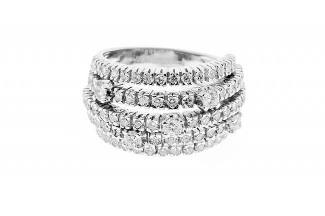 Anello Fascia Fantasia Grama & Mounier con Diamanti da 2.10ct in oro bianco 18kt GM064