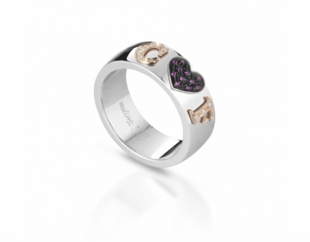 Melissa Jewels - Ring in 925k Silver and 18k Gold and Natural Diamonds and Ruby