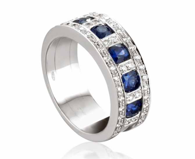 18k - Roger Gems Ring with Sapphires and natural Diamonds