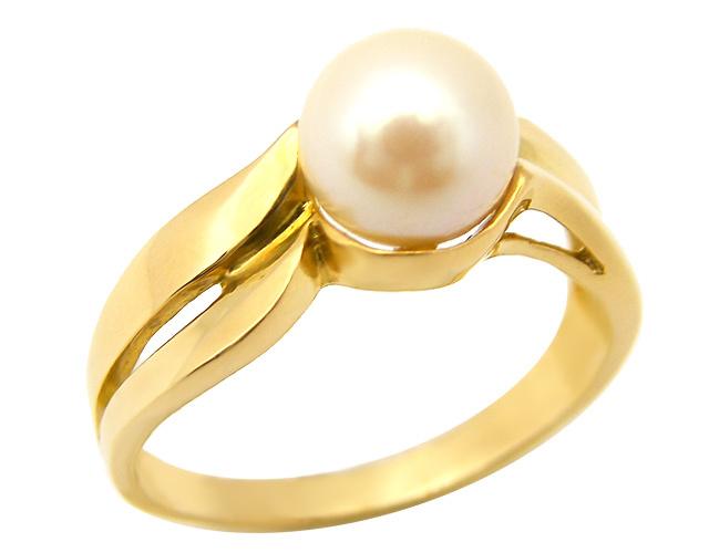 Anello in oro giallo 18kt con perla