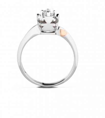 Anello Le Bebè - I Solitari Cestino - bimbo e bimba in oro bianco con cuore in oro rosa e diamante da 0.10ct