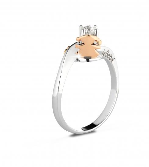 Anello Le Bebè - I Solitari Contrarié - bimbo o bimba in oro bianco con cuore in oro rosa e diamante da 0.20ct