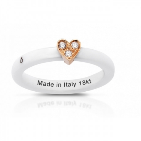 Anello Melissa Jewels in ceramica, cuore oro 18kt e diamanti naturali