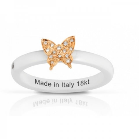 Anello Melissa Jewels in ceramica, farfalla oro 18kt e diamanti naturali