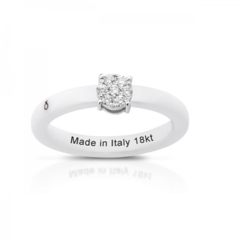 Anello Melissa Jewels in ceramica, oro 18kt e diamanti naturali