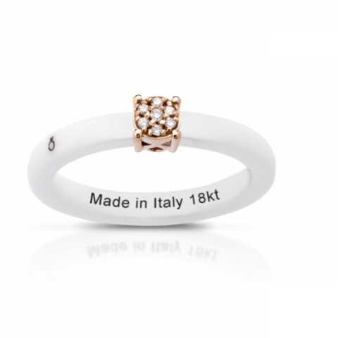 Anello Melissa Jewels in ceramica, oro 18kt e diamanti naturali