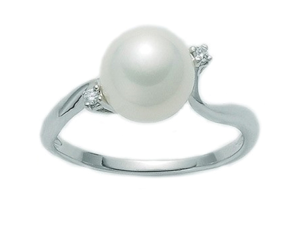 9K White Gold, White Pearl and Diamonds Ring MILUNA