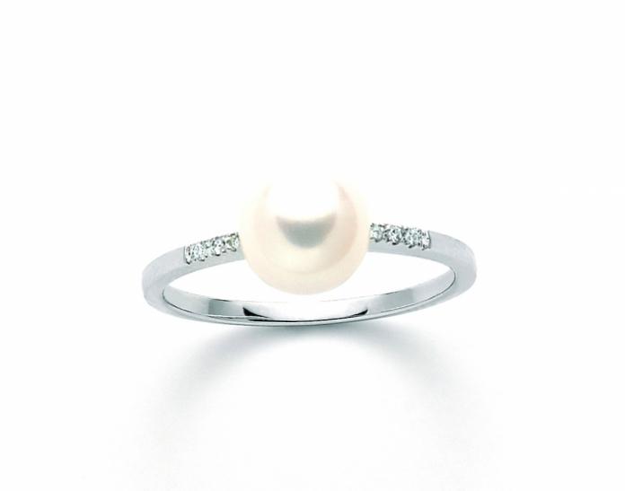 Anello Miluna con Perla Naturale e Diamanti da 0.026ct in oro bianco PLI1594X