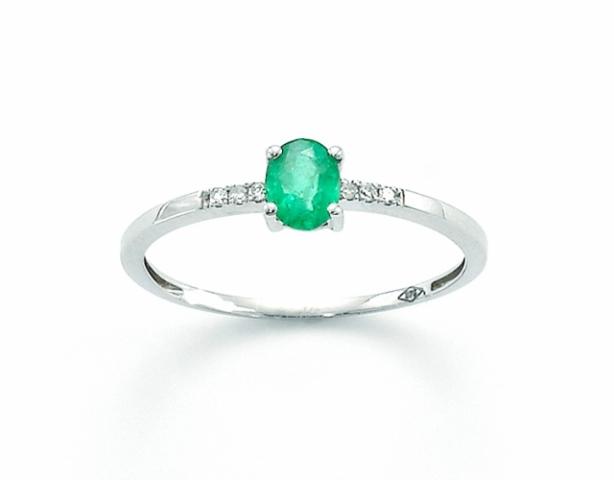 Anello Miluna con Smeraldo 0.40ct e Diamanti in oro bianco LID3049X