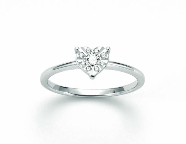 Anello Miluna forma Cuore con Diamanti da 0.11ct totali LID3347