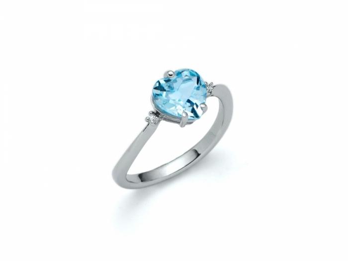 Anello Miluna in oro bianco con Topazio azzurro e diamanti 0.02ct LID2573X