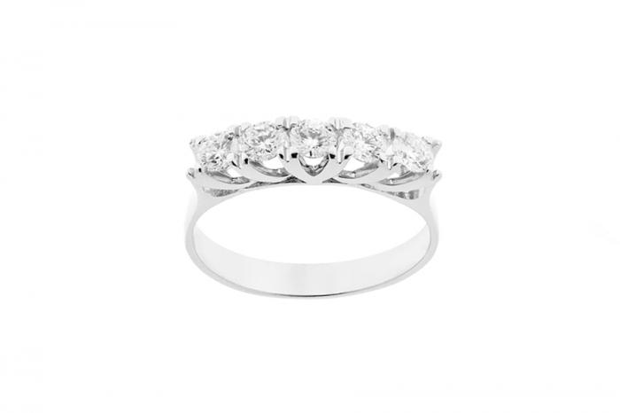 Anello Riviera Grama & Mounier con Diamanti da 0.75ct in oro bianco 18kt GM050