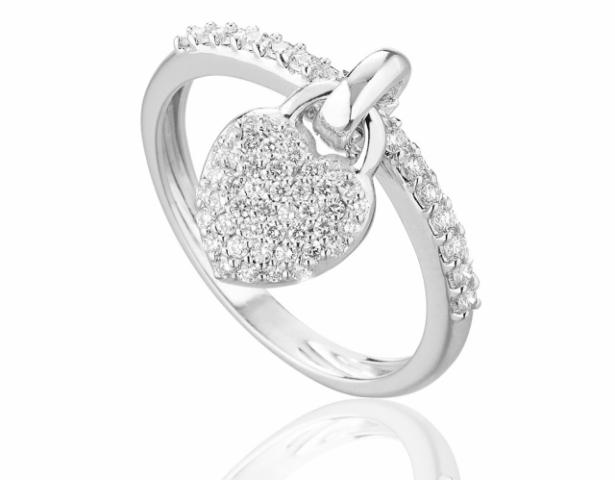 Anello Roger Gems con Cuore pendente e Diamanti Naturali IF 0.42ct in oro bianco 18kt