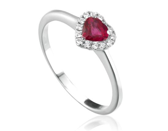 Anello Roger Gems con Rubino Naturale a cuore e Diamanti IF in oro bianco 18kt