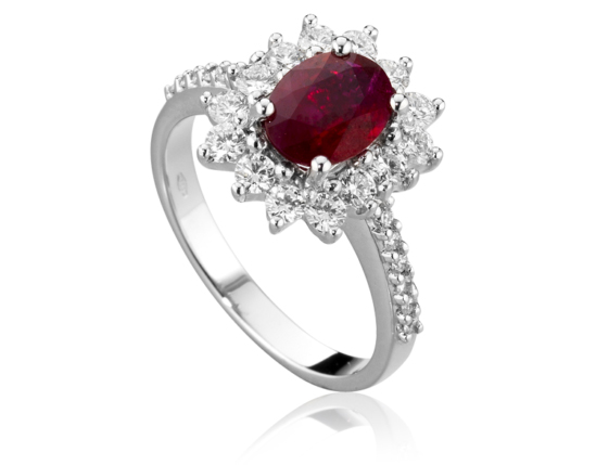 18k White Gold with Natural Ruby and Diamonds