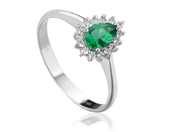18k White Gold with Natural Emerald and Diamonds