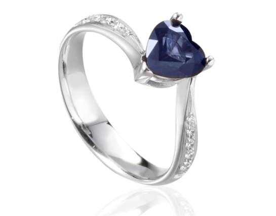 18k White Gold with Natural Sapphire and Diamonds