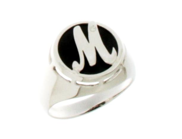 Anello Sigillo Dalù personalizzabile con iniziale del nome in oro bianco 18kt e diamante