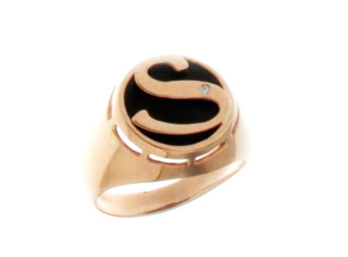 Anello Sigillo Dalù personalizzabile con iniziale del nome in oro rosa 18kt e diamante