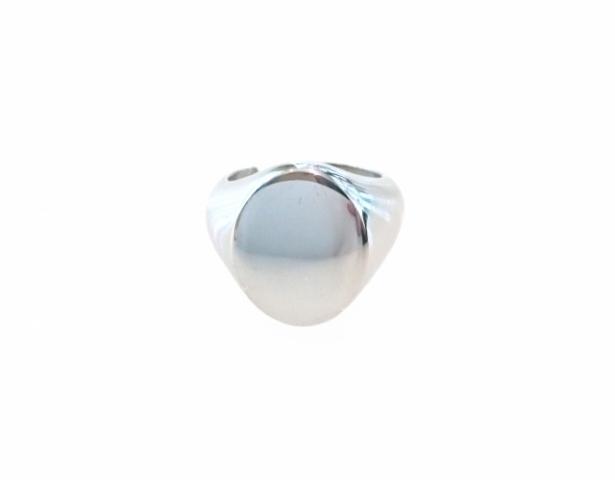 Anello Sigillo Ovale Unisex da mignolo in argento lucido 925% rodiato personalizzabile con iniziale del nome