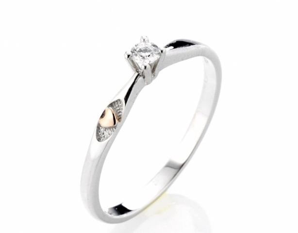 18k White Gold Solitarie Ring with Natural Diamond 0.05ct