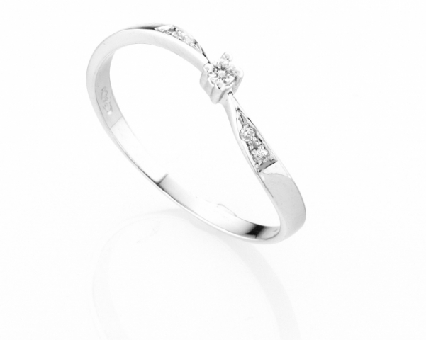 Anello Solitario Diamonds Luxury con Diamante da 0.03ct in oro bianco 18kt