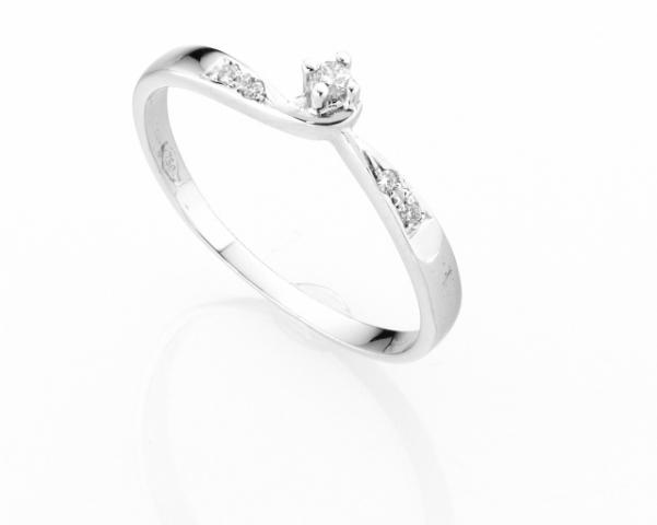 Anello Solitario Diamonds Luxury con Diamante da 0.03ct in oro bianco 18kt