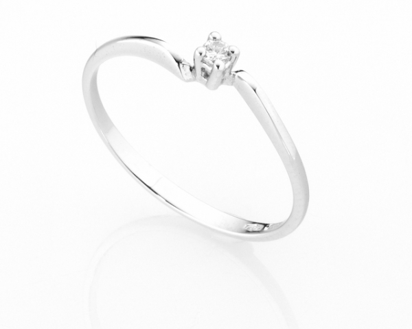 Anello Solitario Diamonds Luxury con Diamante da 0.04ct in oro bianco 18kt