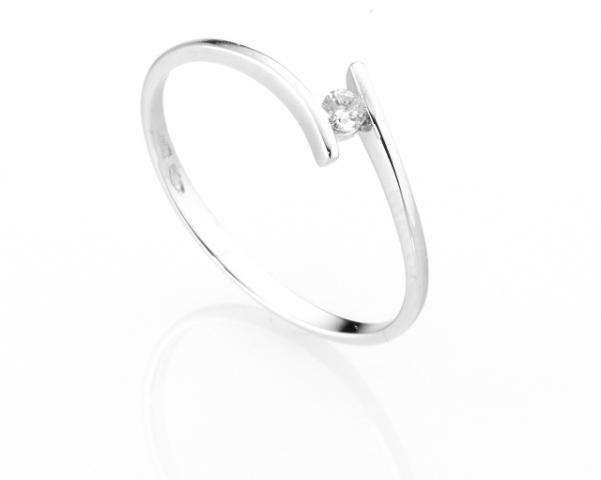 Anello Solitario Diamonds Luxury con Diamante da 0.05ct in oro bianco 18kt